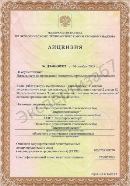 Лицензия по ЭПБ